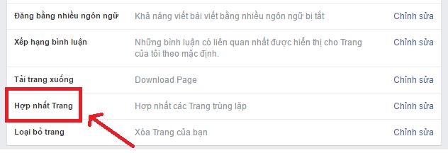 Hợp nhất các trang Facebook