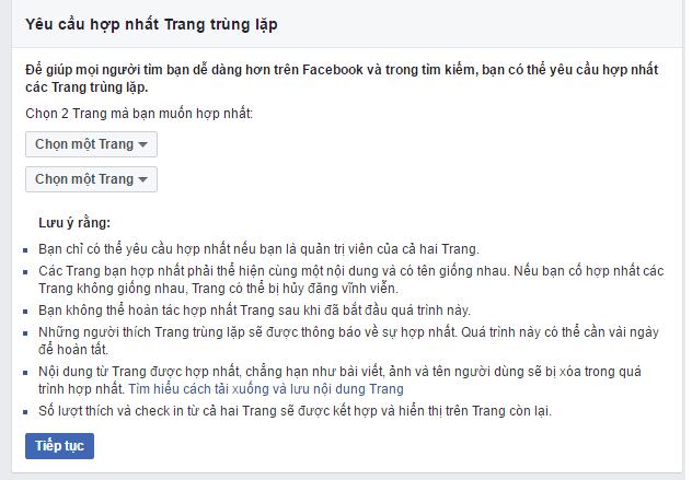 Yêu cầu hợp nhất Trang