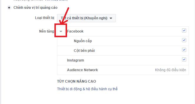 Cách chọn vị trí quảng cáo trong giao diện mới của Facebook