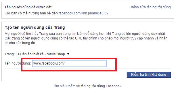 Chọn trang muốn đặt URL