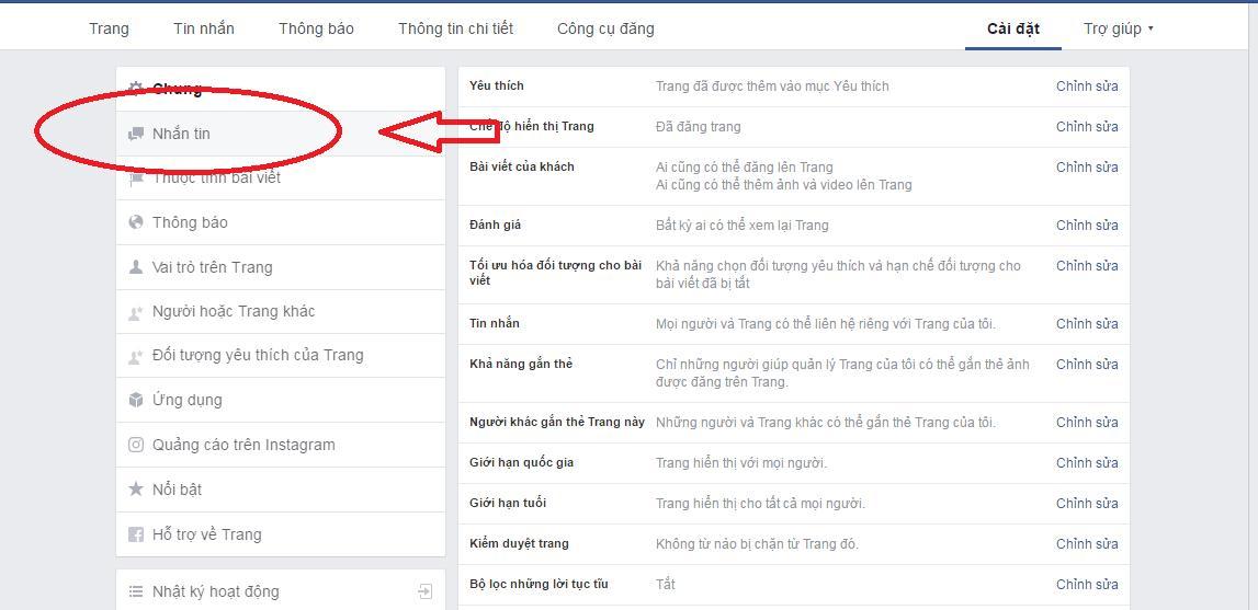 Tính năng nhắn tin tự động trên Fanpage
