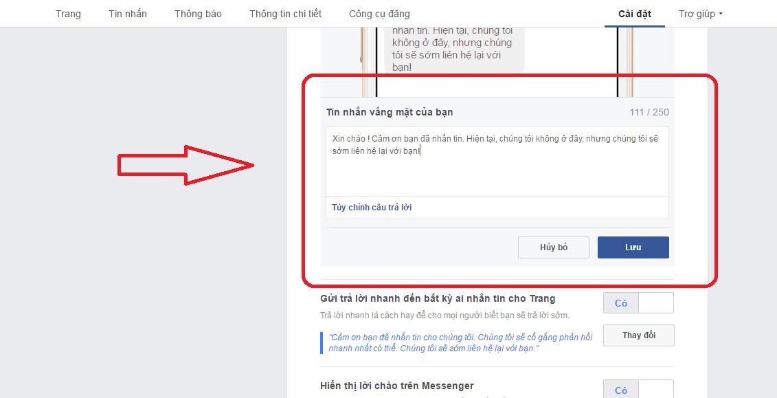 Thiết lập tính năng nhắn tin tự động trên Fanpage
