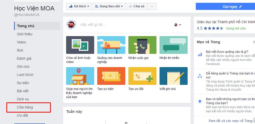 Cách tạo phần cửa hàng trên Facebook