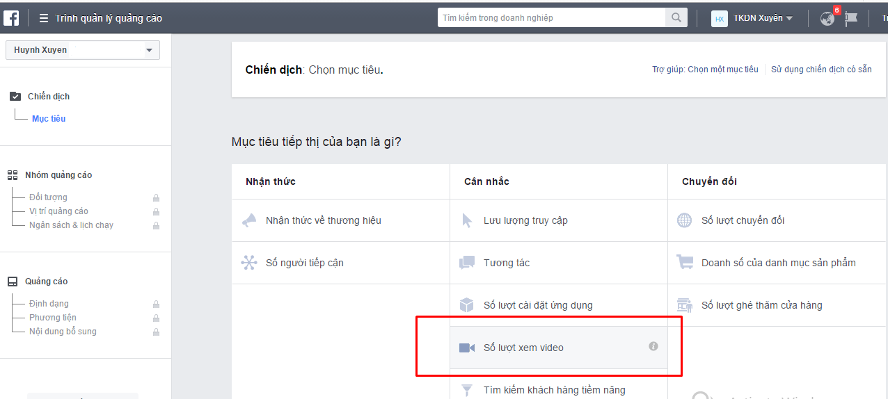 Các bước tạo quảng cáo video trên Facebook