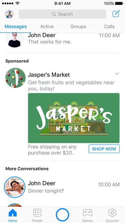 Quảng cáo sẽ xuất hiện trên Facebook Messenger