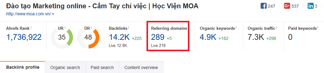 Reffering Domains moa.com.vn