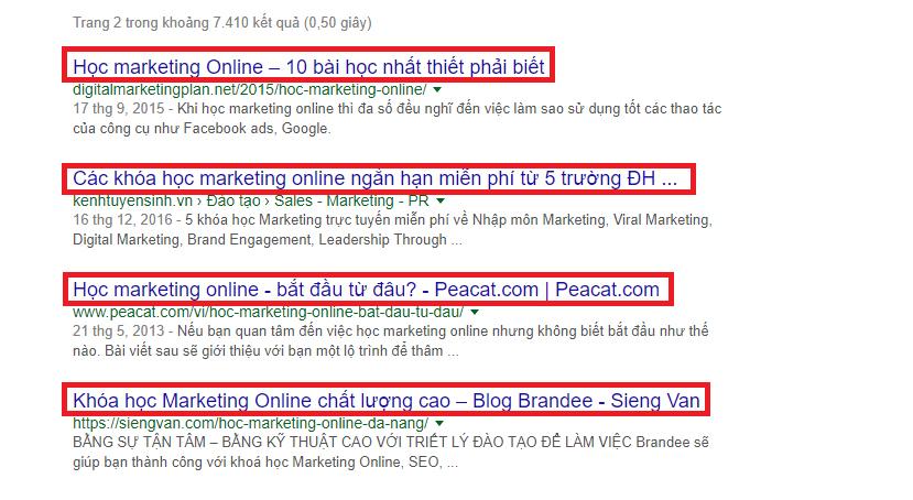 kết quả trang 2 từ khóa marketing online