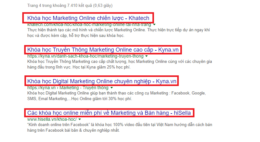 trang 4 kết quả từ khóa học marketing online