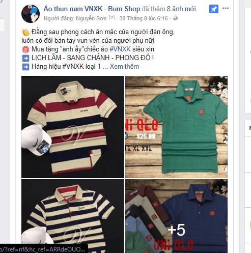 mẫu quảng cáo quần áo trên facebook