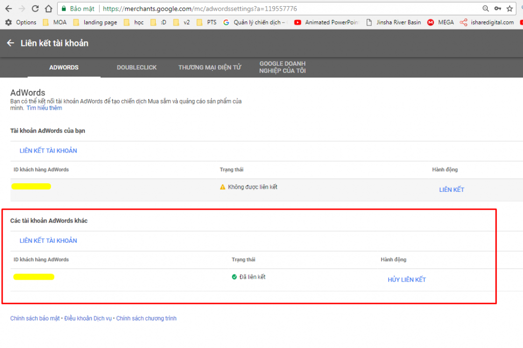 lien ket tai khoa goolge adwords va Google Merchant