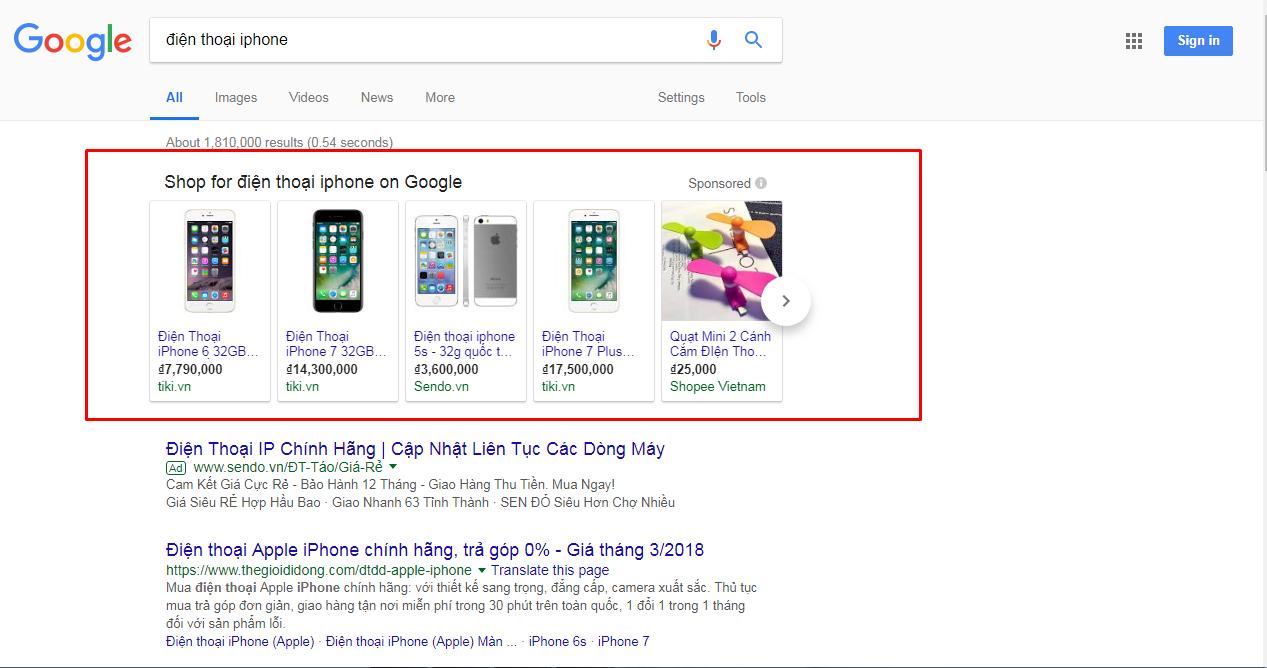 quảng cáo mua sắm trực tuyến google shopping là gì