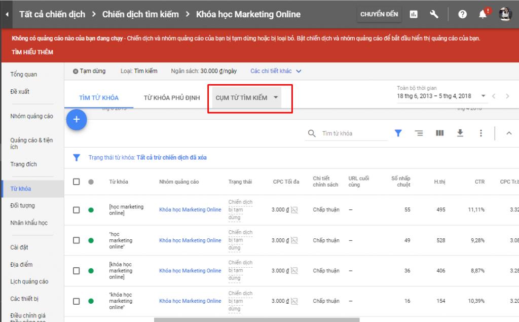 bấm vào mục tìm kiếm để thực hiện cách tăng traffic cho website