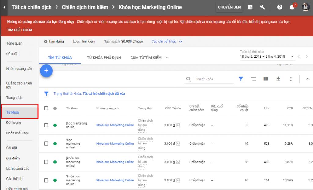 chọn mục từ khóa cách tăng traffic cho website