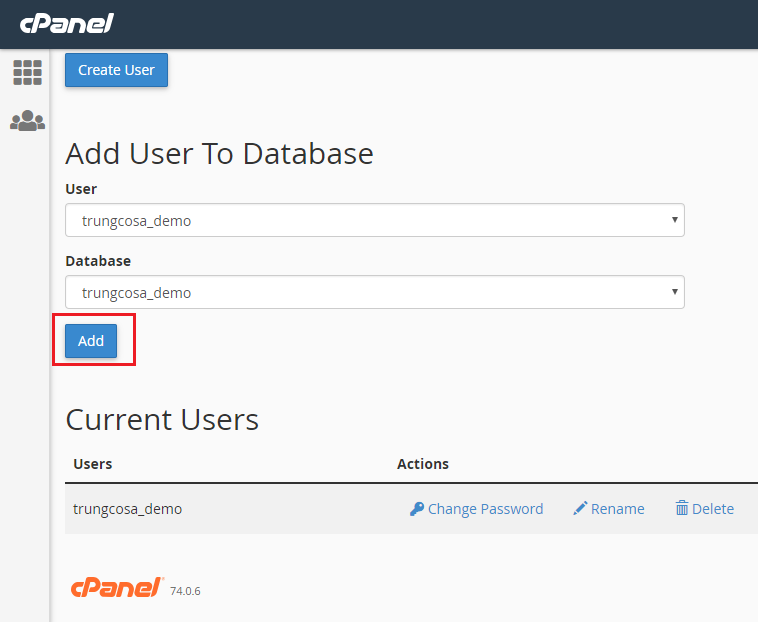 user to database