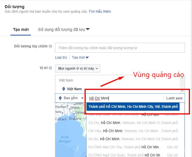tự học chạy quảng cáo trên facebook chọn địa điểm