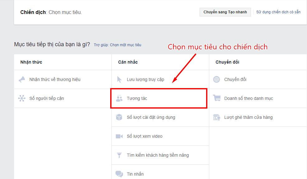 tự học chạy quảng cáo trên facebook chọn loại hình quảng cáo
