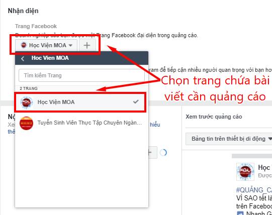 lựa chọn trang quảng cáo tự học chạy quảng cáo trên facebook
